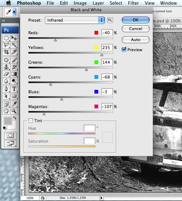 Photoshop Back and White Method Dialog